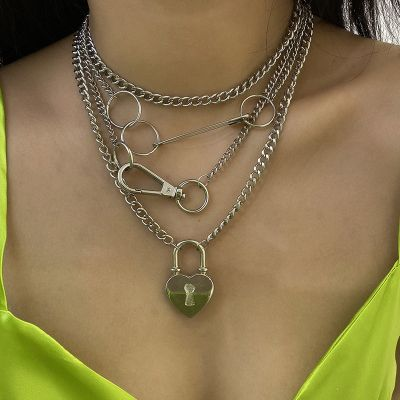 Silver Punk Heart Lock Chunky Layer Statement Necklace