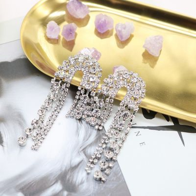 Silver Rhinestones Fringes Earring Bridal Statement Earrings