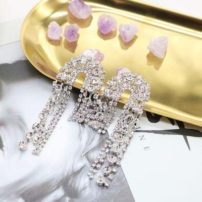 Silver Rhinestones Fringes Earring Bridal Statement Earrings