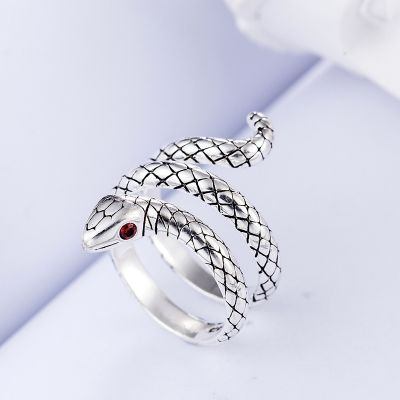 Silver Snake Adjustable Ring Punk Animal Rings for Men&Women