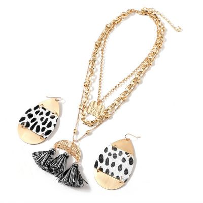 Leopard Earring&Tassel Layered Necklace Set Boho Jewelery Set