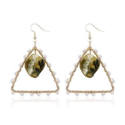 Triangle Pearls Shell Hook Earrings Metal Hoop Earring