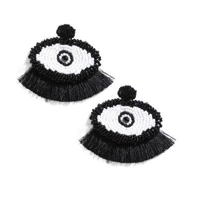 Devil Eyes Tassel Beaded Earrings Boho Statement Earring