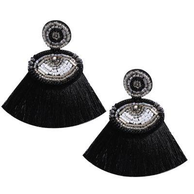 Fashion Evil Eyes Beaded Long Tassel Earrings for Beach