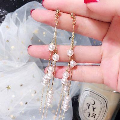 Pearls Tassel Long Earrings Bridal Liner Earrings