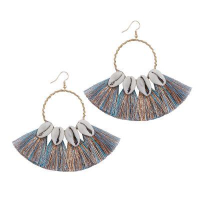 Shell Tassel Big Hoop Earrings Boho Dangle Drop Earring