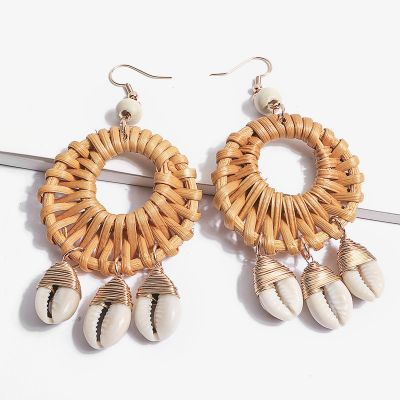 Circle Straw Woven Shell Drop Dangle Earrings for Beach