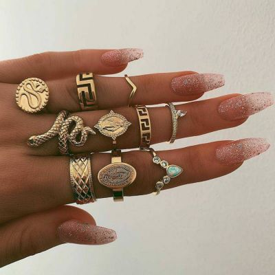 Snake Embossment Boho Rings Set Midi Rings 10 PCs