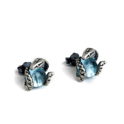 Snake Light Blue Topaz Studs Earrings