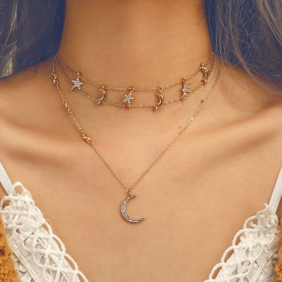 Star&Moon Choker Necklace Layered Necklace Chain in Gold