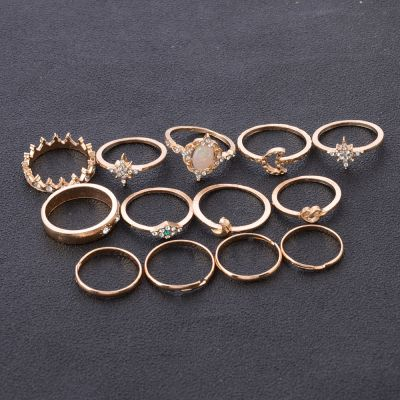 Star&Moon Rhinestones Midi Rings 13 PC Ring Set for Wedding Party