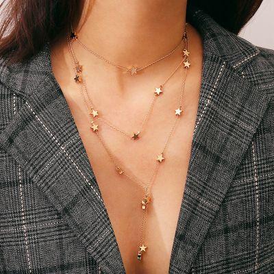 Star Pendant Tassel Layer Chain Necklace Beach Boho Necklace