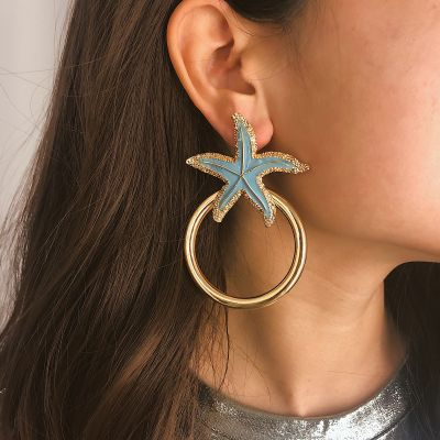 Starfish Round Drop Earrings Cute Earrings for Beach