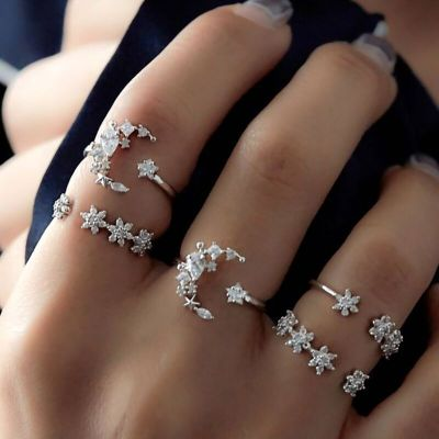 Stars&Moon Adjustable Rings Set 5 Pieces Vintage Bridal Ring