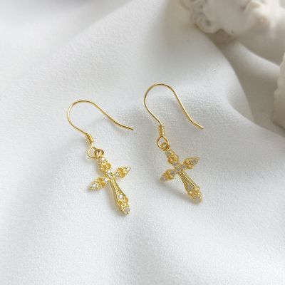 Sterling Silver Cubic Zirconia Cross Dangle Earrings Gifts for Daugther Girlfriend
