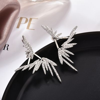 Sterling Silver Rhinestones Wing Stud Earring Bridal Ear Jacket