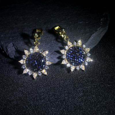 Sunflower Cubic Zircon Dangle Earring Clip on Earrings