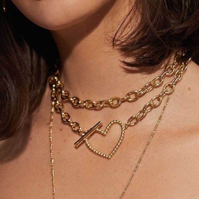 Sweet Heart Chunky Chain Multilayer Necklace for Beach