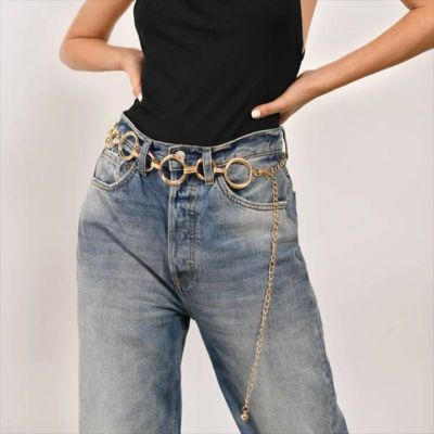 Trendy Circle Waist Chain Belt in Silver for Outgoing
