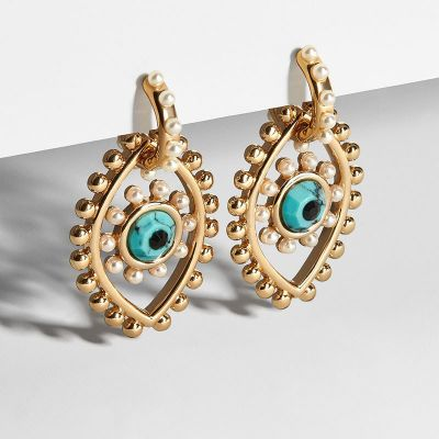 Trendy Devil Eyes Pearl Drop Earring Party Dangle Earring in Gold