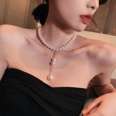 Trendy Heart Pearl Cross Pendants Layer Necklace for Party