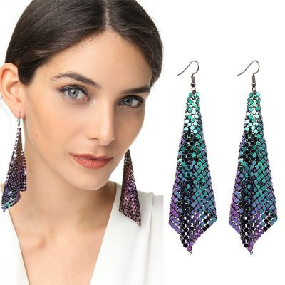 Trendy Mesh Sequins Earring Geometric Dangle Earring