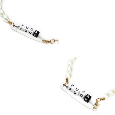 Trendy Pearls Choker Alphabet Necklace Party Jewelry