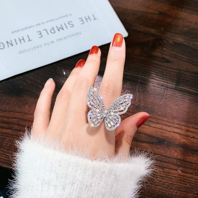 Trendy Rhinestones Butterfly Rings Party Woman Ring