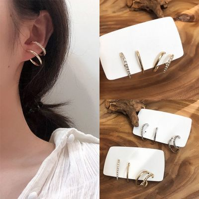 Trendy Rhinestones Small Hoop Earrings Earrings Sets