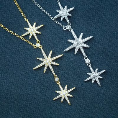 Triple Star 925 Sterling Silver Necklace