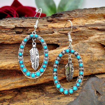 Turquoise Oval Feather Drop Earrings for Beach