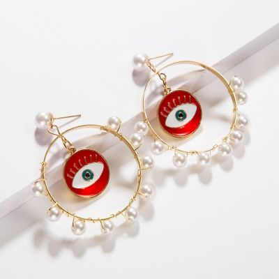Vinatge Devil Eyes Pearl Hoop Earrings Dangle Earring