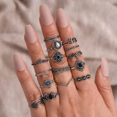 Vintage 15 Pcs Silver Ring Set Hollow Out Flower Midi Ring Layering Rings