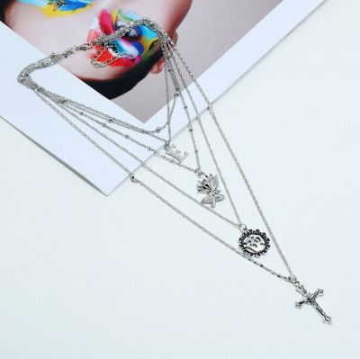 Vintage Cross Rose Drop Layer Necklace Bikini Necklace in Silver