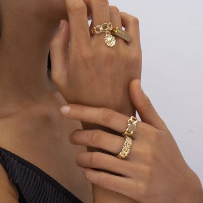 Vintage Crystal Lock Rings Layer Chunky Ring Set
