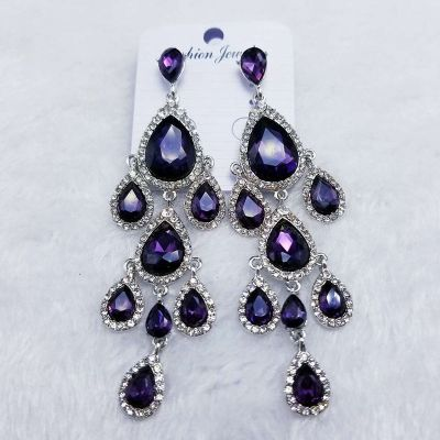 Vintage Crystal Waterdrop Dangle Earring Chandelier Earrings