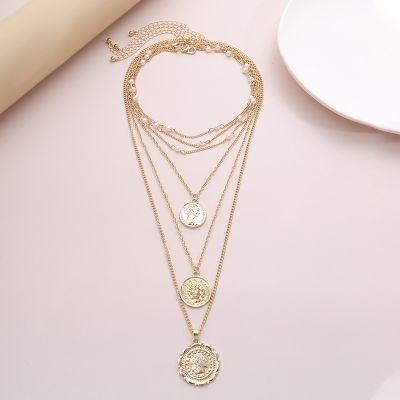 Vintage Embossed Coin Pendants Pearl Layer Necklace