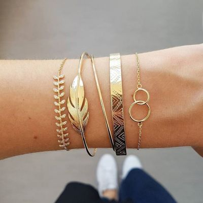 Vintage Gold Tree Layered Bangle Bracelet Chain for Beach