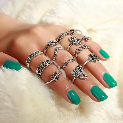 Vintage Hollow out Ring Set Elephant Moon Midi Ring 13 Pcs