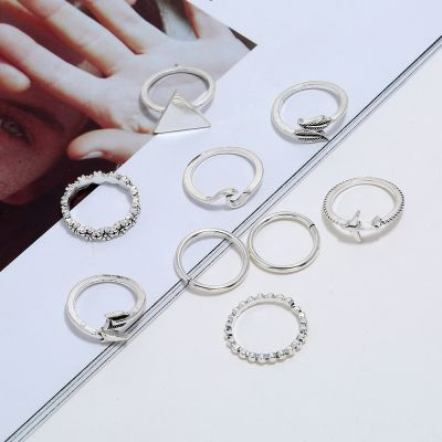 Vintage Layered Ring Set Triagnle Leaf Flower Midi Ring 8 Pcs