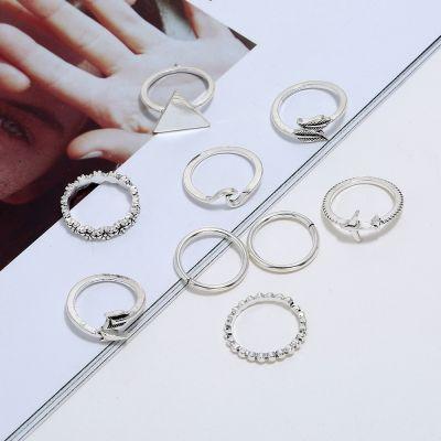 Vintage Layered Ring Set Triagnle Leaf Flower Midi Ring 8 Pcs