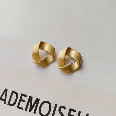 Vintage Matted Gold Triangle Small Stud Earrings with S925 Pin