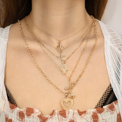 Vintage Multilayer Necklace Chain Cross&Flower Pendants Gold Necklace