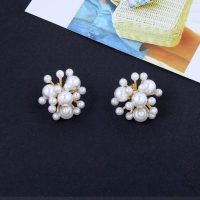 Vintage Pearl Cluster Stud Earring Clip on Earrings for Wedding