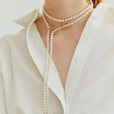 Vintage Pearls Line Necklace Layer Back Necklace for Wedding
