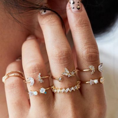 Vintage Rhinestone Butterfly Open Ring Layer Midi Ring Set 7 PC