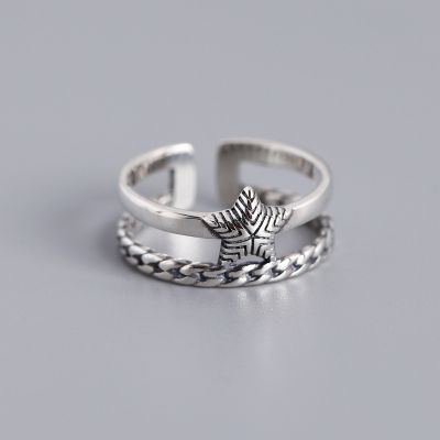 Vintage Star S925 Silver Ring Stacking Jewelry Gift for Birthday