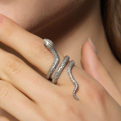 Vintage Sterling Silver Snake Wrap Ring Adjusatble Ring