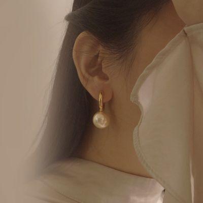 White Faux Pearl Hoop Earrings
