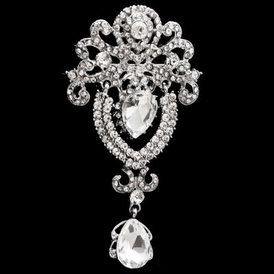 Women Crown Rhinestones Drop Pins Brooch
